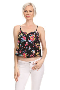 Women's Loose Fit Crop Top Floral Print