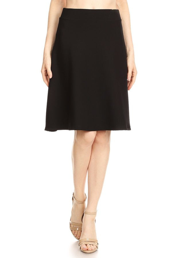 Solid Techno Knit A-Line Skirt with Banded Waist