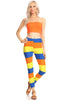 2 Piece Jacquard Outfit Bandeau Top and Striped Leggings