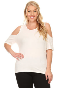 Women's Plus Size Cold Shoulder Short Sleeve Blouse Top