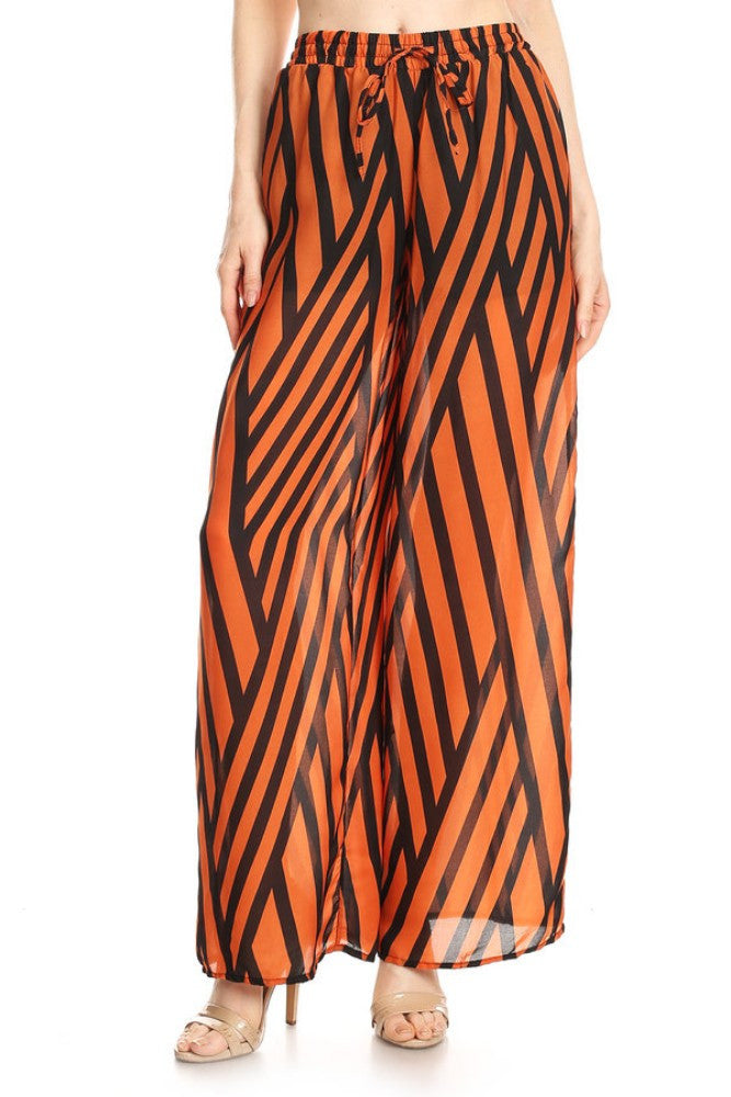 Women's Mixed Striped Wide Leg Pants