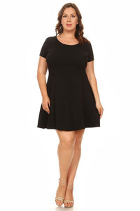 Women's Plus Size Short Sleeve Midi Dress