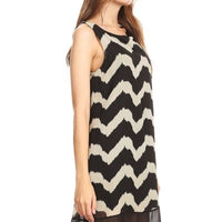 Women's Striped Print Sleeveless Chiffon Dress