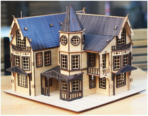 3D_Wooden assemble set_Fantasy Mansion Black_Large