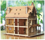 3D_Wooden assemble set_Fantasy Mansion_Medium_Brown