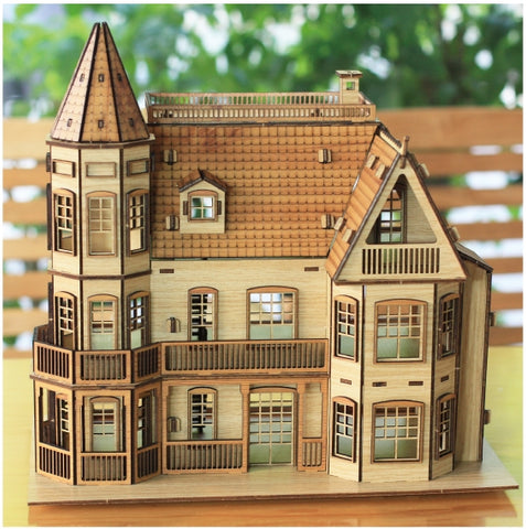 3D_Wooden assemble set_Laurel Town Home_Medium_Brown