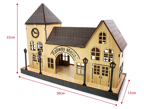 3D_Wooden assemble set_Mini Village_Train Station