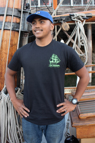 Lady Washington Tee - Black with Green