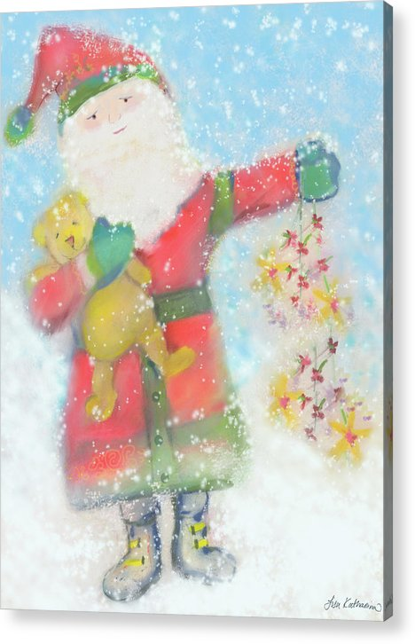 Pastel Santa And Teddy - Acrylic Print