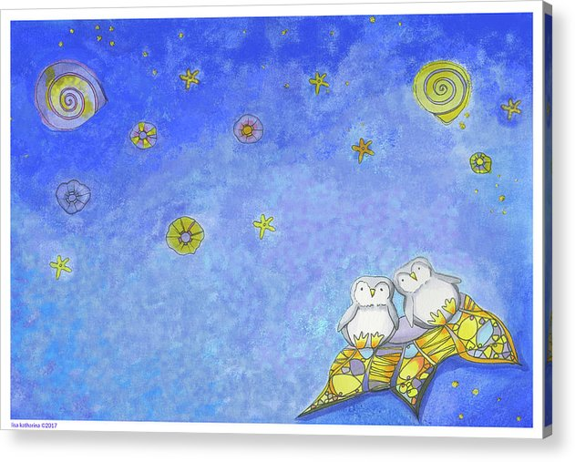 Penguins On Their Own Star - Acrylic Print