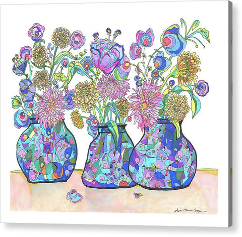 Three Cobalts With Wild Flowers - Acrylic Print - Lisa Katharina Artist