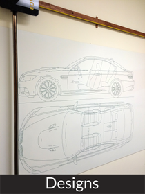 outline car design to scale on whiteboard technical drawing