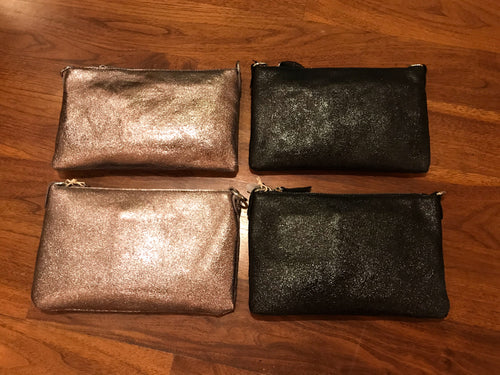 LEATHER METALLIC CLUTCH