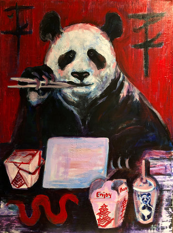Panda eating chinese take-out