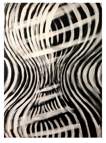 Contemporary abstract art black and white DNA