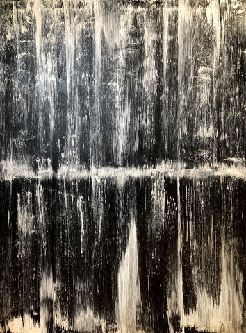 Black and white abstract landscape modern art contemporary expressionism