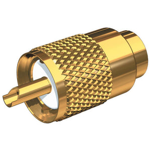 Shakespeare PL-259-58-G Gold Solder-Type Connector w-UG175 Adapter & DooDad® Cable Strain Relief f-RG-58x