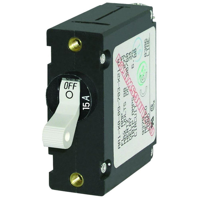 Blue Sea 7210 AC - DC Single Pole Magnetic World Circuit Breaker  -  15 Amp