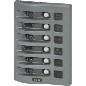 Blue Sea 4376 WeatherDeck Water Resistant Circuit Breaker Panel - 6 Position - Grey