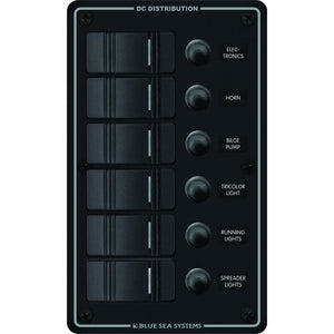 Blue Sea 8373 Water Resistant 6 Position - Black - Vertical Mount Panel