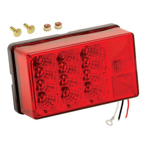 "Wesbar 4"" x 6"" Waterproof LED 7-Function, Right-Curbside w-3 Wire 90 deg Pigtail Trailer Light"