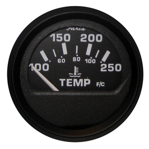 "Faria Euro Black 2"" Water Temperature Gauge (100-250°F)"