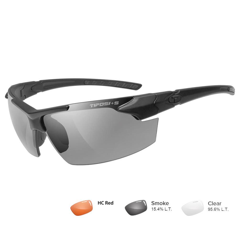 Tifosi Z87.1 Jet FC Matte Black Tactical Sunglasses - Smoke-HC Red-Clear