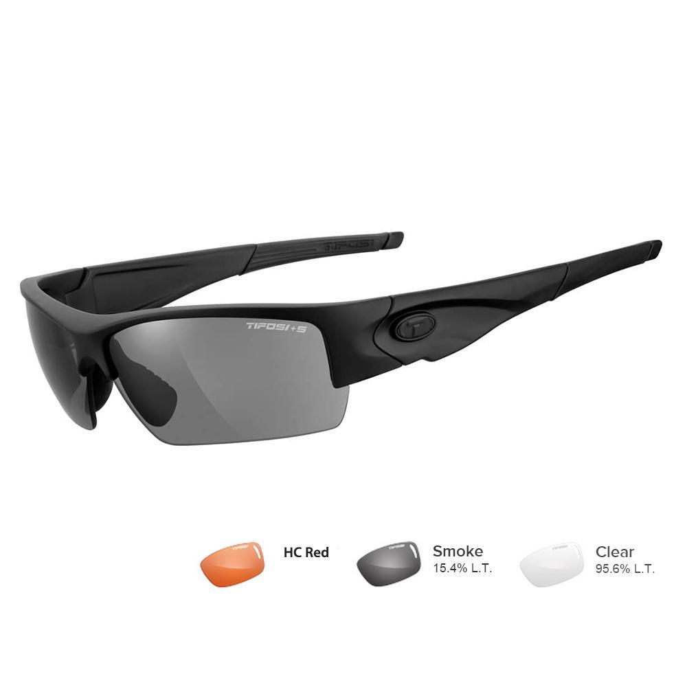 Tifosi Z87.1 Lore Matte Black Tactical Safety Sunglasses - Smoke-HC Red-Clear