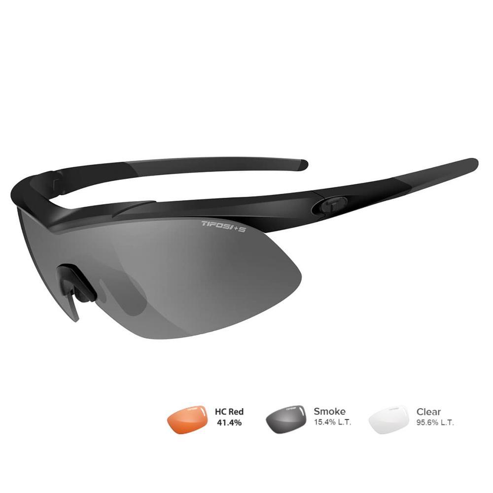 Tifosi Z87.1 Ordnance Matte Black Tactical Safety Sunglasses - Smoke-HC Red-Clear