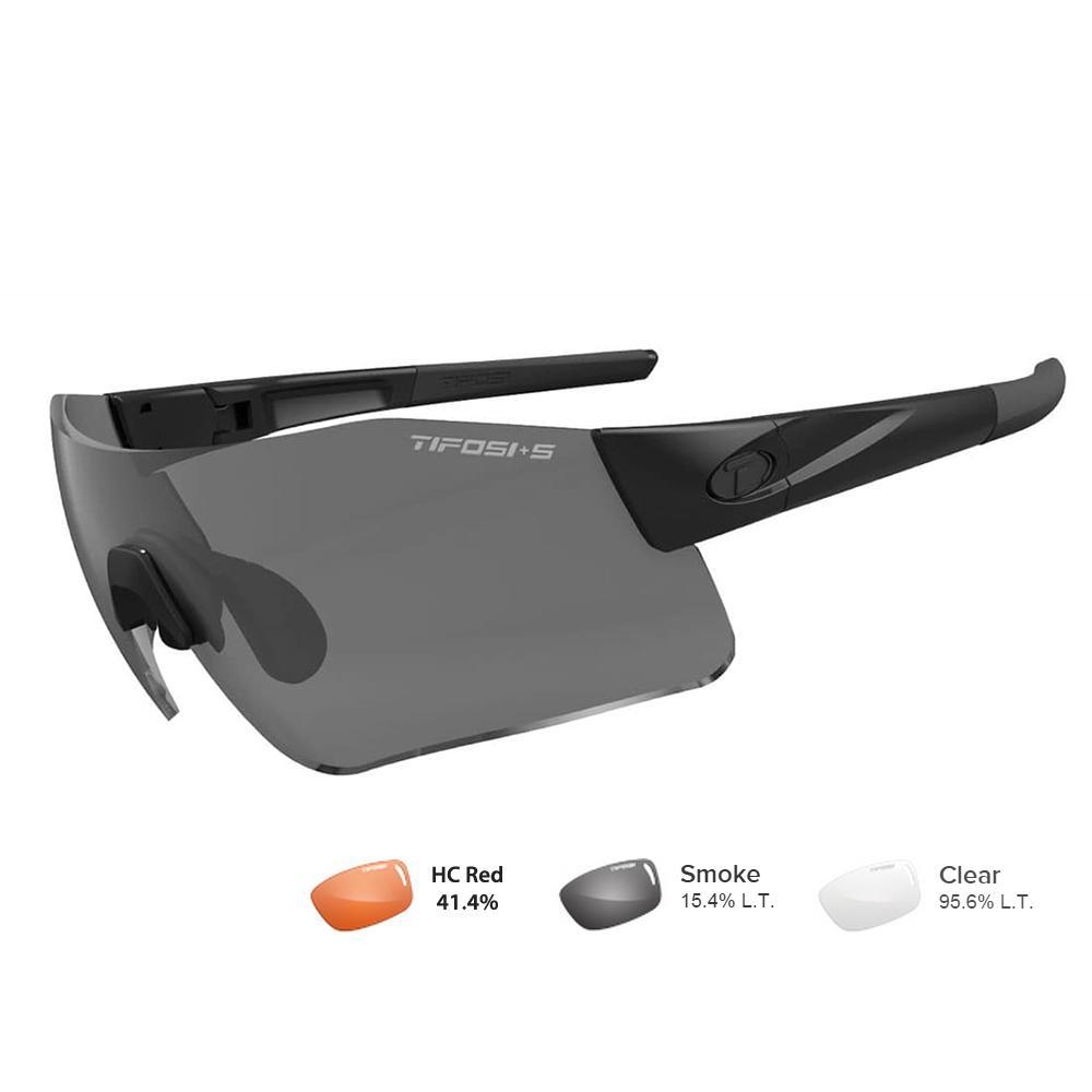 Tifosi Z87.1 Blockade Matte Black Tactical Safety Sunglasses - Smoke-HC Red-Clear