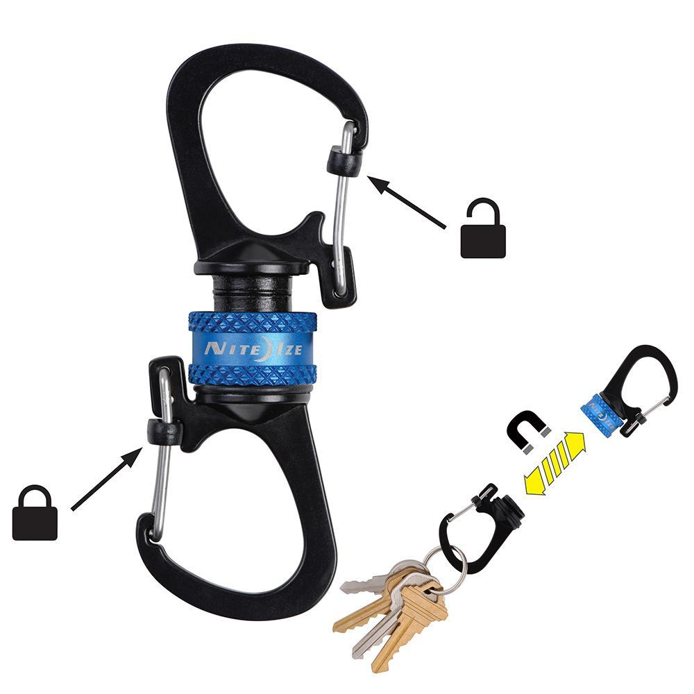 Nite Ize Slidelock® 360° Magnetic Locking Dual Carabiner - Blue