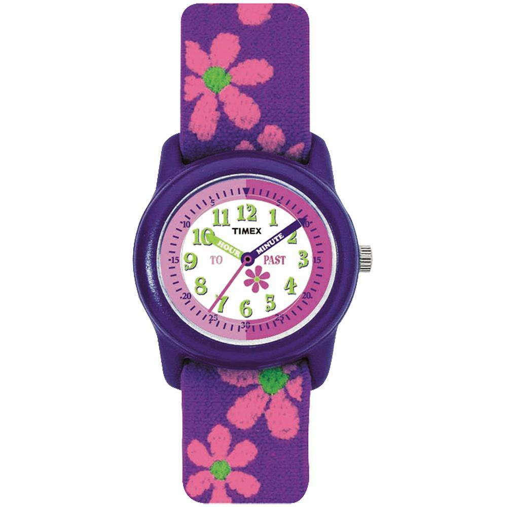 Timex Kid's Analog Watch w-Elastic Fabric Band - Flowers