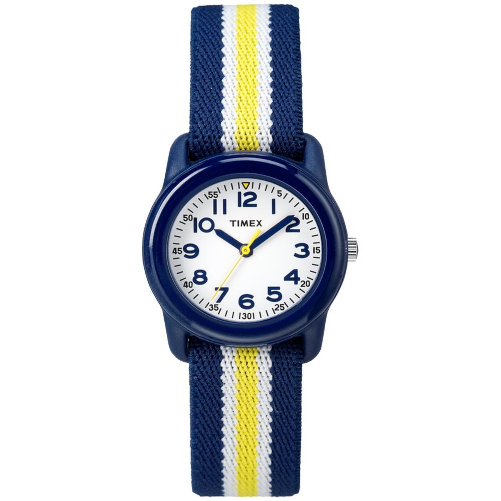 Timex Kid's Analog Watch w-Elastic Fabric Band - Blue-Yellow Striped