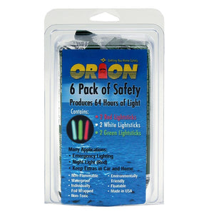 Orion Lightsticks - 6-Pack Includes 2-Green, 2-Red & 2-White