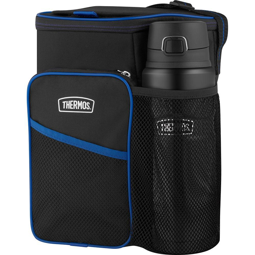 Thermos Lunch Lugger Cooler w-STAINLESS KING Direct Drink Bottle Set - Black