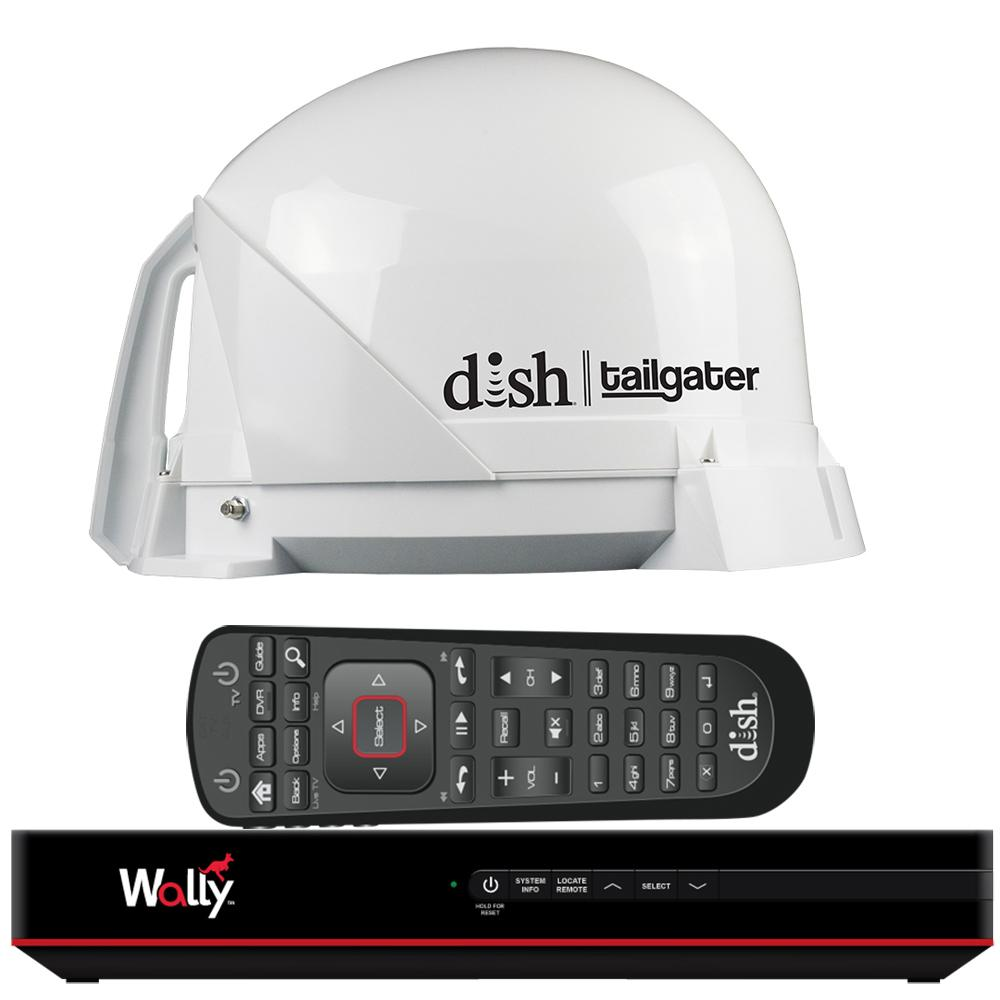 KING DISH® Tailgater® Satellite TV Antenna Bundle w-DISH® Wally® HD Receiver & Cables