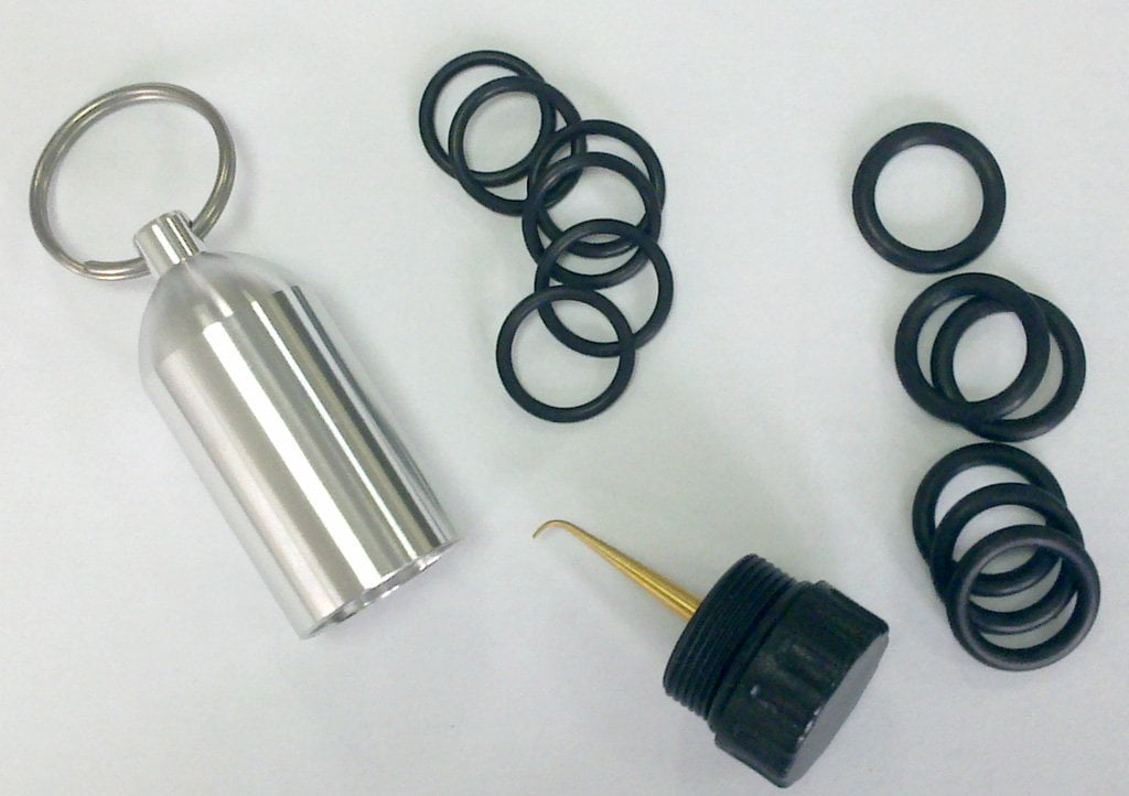 Aluminum Scuba Tank Keychain With 12 O-Rings - Three Colors!