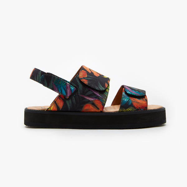 Technicolor Leaves Strap Sandal - Insecta Shoes