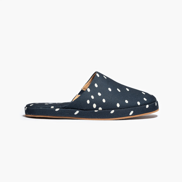 Navy Blue Polka Slipper - Insecta Shoes