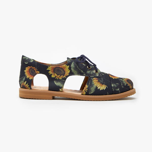 Navy Blue Sunflower Cutout Oxford - Insecta Shoes