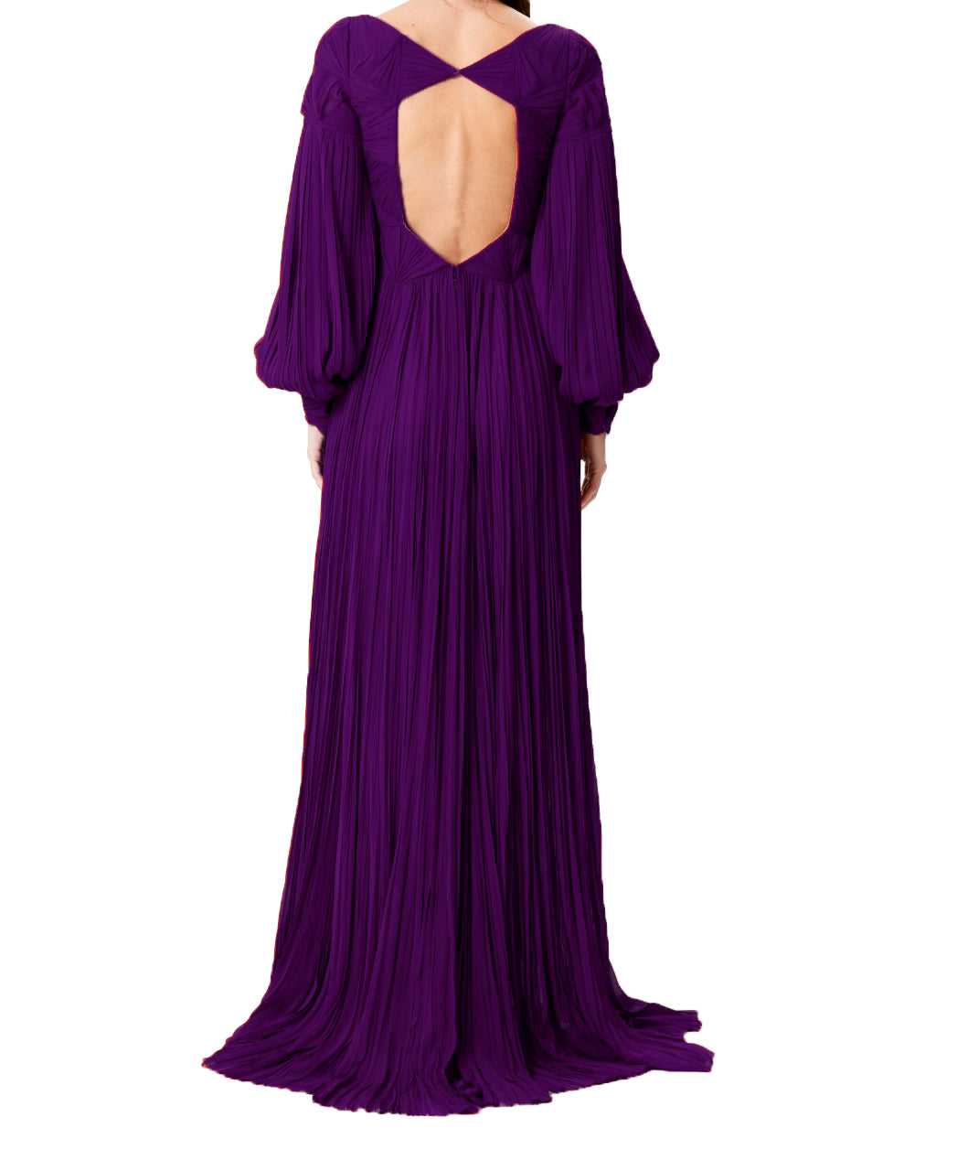 Aubergine Silk Hand-Pleated Gown