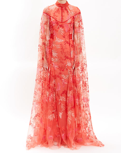 Tangerine Embroidered Lace Gown