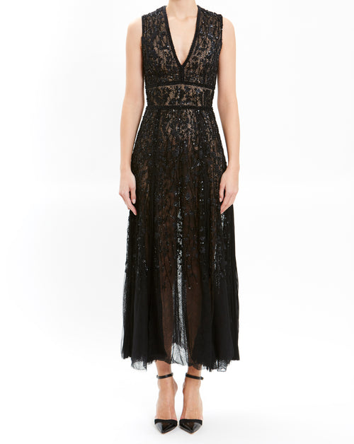 Black Sleeveless Lace Embroidered Cocktail Dress