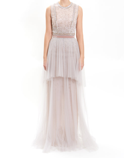 Light Grey Sleeveless Embroidered Gown With Removable Tulle Skirt