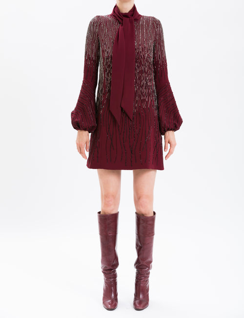 Burgundy Long Sleeve Embroidered Cocktail Dress