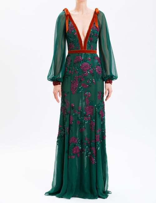 Forest Embroidered Chiffon V-Neck Gown