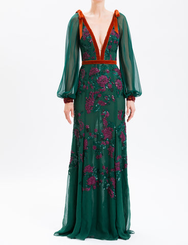 Golden Green Burnt Velvet High Neck Gown
