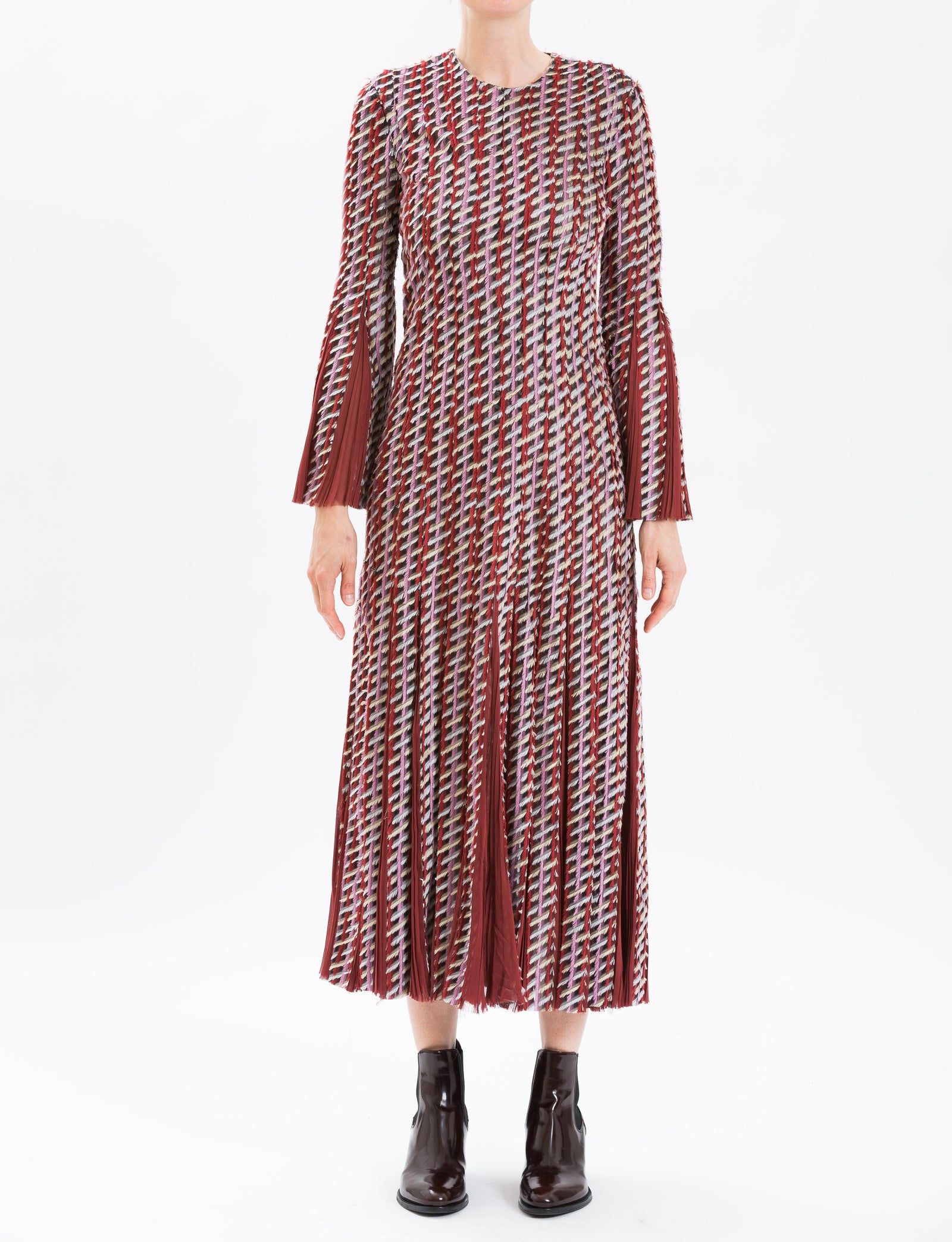 Rust Long Sleeve Tweed Dress With Pleated Detail