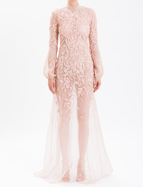 Dusty Rose High Neck Embroidered Gown