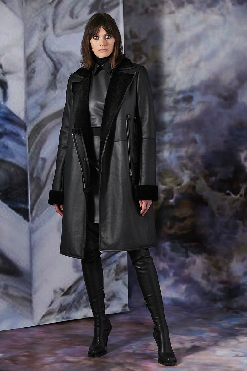 Pre-Order Black  Collared Leather Shearling Coat